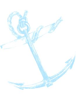 Tilted Anchor - Cyan